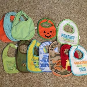 Lot of 12 Bibs and 2 Burpcloths